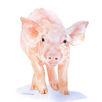 Pig Watercolor Painting Giclee Print 8 x 10 Fine Art Piglet Nursery Art - Farm Animal Art
