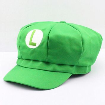 New Super Mario Cotton Caps hat Red Mario and luigi cap 5 colors Anime Cosplay Halloween Costume Buckle Hats Adult Hats Caps