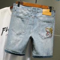 GUCCI Fashion Men Embroidery Denim Cowboy Casual Shorts 1#