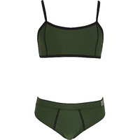 Girls khaki green crop top bikini set