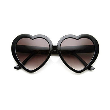 Cute Black Oversized Heart Shaped Sunglasses