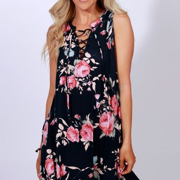 Wonder-floral Dress Navy/ Floral