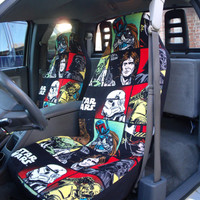 1 Set of Ultra Cuddle-Star War  Print Custom Made Car Seat Covers.