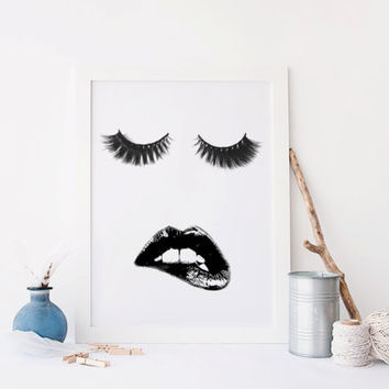 Printable art MAKEUP PRINT,Printable art lips,eyelashes print,eyelashes art,prints and qotes,makeup decor,makeup art,eyes and lashes,mouth