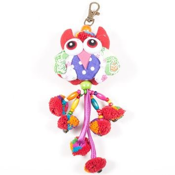 Red Owl Zipper Pull With Pom-Poms (Thailand)