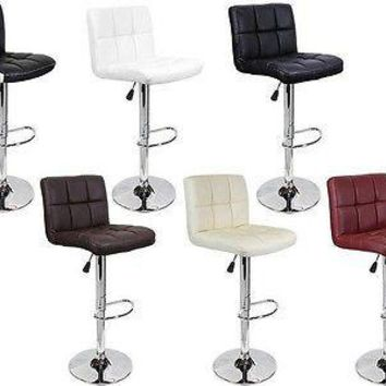 SET of ((2)) Bar Stools Leather Modern Hydraulic Swivel Dinning Chair Barstools