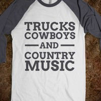 Trucks, cowboys, and country music baseball t shirt