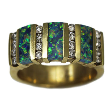 14K Yellow Gold Opal and Diamond Thick Ring