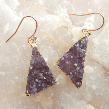 Purple Druzy Amethyst Triangle Earrings 14K Gold Raw Stone Crystal Quartz Drusy - Free Shipping Jewelry
