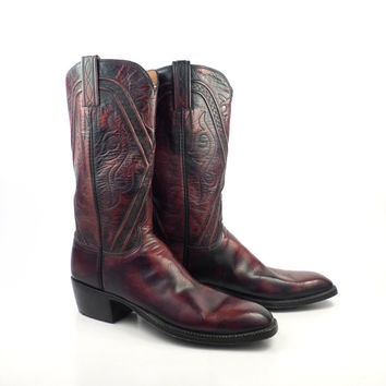 Lucchese Cowboy Boots Vintage 1980s Burgundy Black Leather Cowboy Boots Men's size 8 A