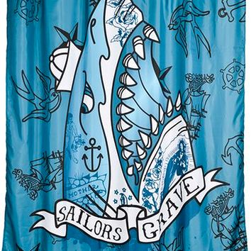 """Sailors Grave"" Shower Curtain by Too Fast (Blue)"