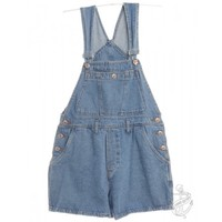 Cropped Dungarees Stone Wash With Adjustable Straps