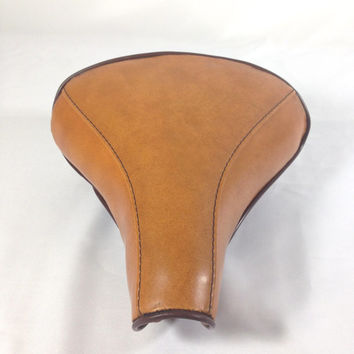 Vintage Huffy Bicycle Saddle Seat Persons Made in USA Tan with Brown Piping Retro Bike Seat Two Toned Vinyl Vintage Bicycle Parts