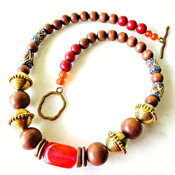 Chunky Ethnic Necklace, African Inspired Necklace, Bohemian Necklace, Large Beaded Necklace, Statement Jewelry
