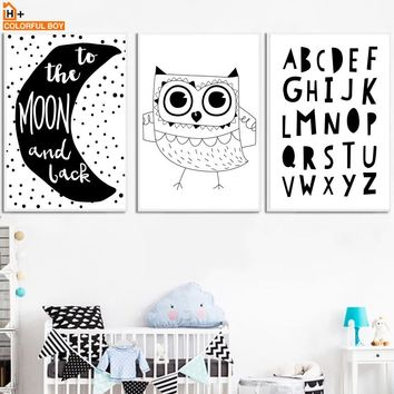 Owl Moon Letter Quotes Wall Art Canvas Painting Nordic Posters And Prints Black White Pop Art Wall Pictures Baby Kids Room Decor