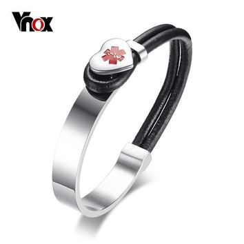Vnox Medical Alert ID Bracelet for Women Men Heart Charm Stainless Steel Wrap Bracelets Bangles with Black Leather Rope Jewelry