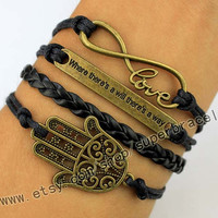 """Infinity Wish and Hope, """"Where there is a will, there is a way"""", The hand of Fatima, Hamsa hand Charm Bracelet in Bronze, graduation gift"""