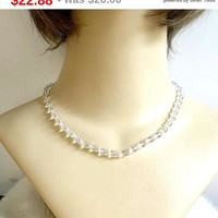 SALE Clear Crystal Beads Necklace Vintage 1960's Single Strand Wedding Bridal