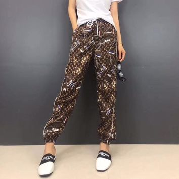 """Louis Vutitton"" Women Personality Casual Retro Logo Pattern Print Leisure Pants Trousers Sweatpants"
