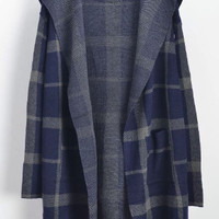 Blue Hooded Plaid Pockets Long Sleeve Coat