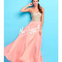 Side Cutouts Strapless Coral Gown