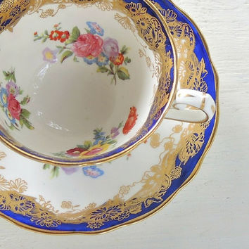 Hammersley Blue and Gold Gilt Tea Cup Set, Fine English Bone China Downton Abbey Tea Cup Duo Elegant Tea Party, Signed & Numbered