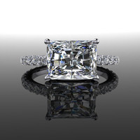 Forever Brilliant Moissanite and Diamonds Radiant Cut Engagement Ring 3.31 CTW