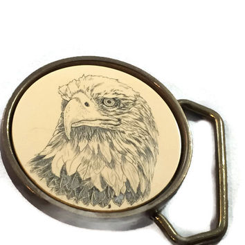 Vintage Barlow Belt Buckle, Scrhimshaw Artwork Regal Eagle Head, Solid Brass Buckle