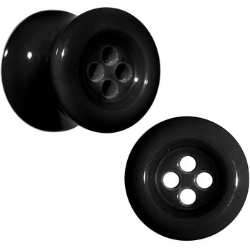00 Gauge Black Acrylic Whose Got the Button Saddle Plug Set