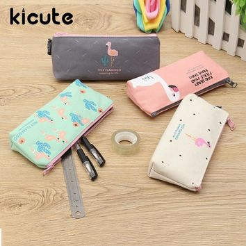 Kicute Lovely Design Bird Flamingo Canvas Pencil Case For Kids Stationery Storage Organizer Bag School Supplies Student Prize