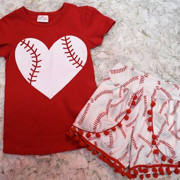 Girls Toddler Baby Kids Clothing Summer Boutique Outfit 2 PC Shorts Set Baseball