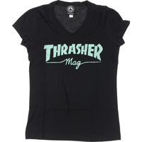 THRASHER MAG LOGO GIRLS V-NECK Black/Mint
