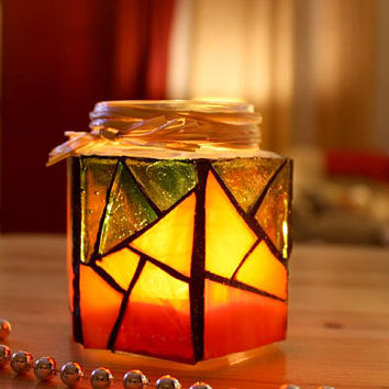 Pumpkin Stained Glass Candleholder, Orange Mosaic Candle Holder Jar, Upcycled Orange Vase Jar, Mosaic Candle Holder
