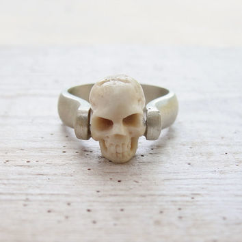 Sterling Silver Skull Ring Till Death do us Part