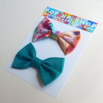 Tie Dye Hair Bows / Psychadelic Hairbows / Teal & Pink Bow Clips Set