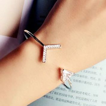 Love Arrow Cuff Bangle (Slightly Adjustable Band) - LilyFair Jewelry