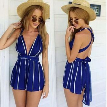 Stripes Backless Sexy Romper [6315455361]