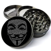 V For Vendetta Guy Fawkes Mask Extra Large 4 Chamber Spice & Herb Grinder With Microfine Screen