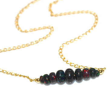 Black Opal Necklace Delicate Necklace Opal Jewelry Everyday Necklace Bar Necklace Minimalist Jewelry Black Ethiopian Opal Everyday Jewelry