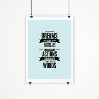 """Digital Print Art Poster """"Dream Bigger Than Your Fears"""" Typography Wall Decor Home Decor Giclee Screenprint Letterpress Style Wall Hanging"""