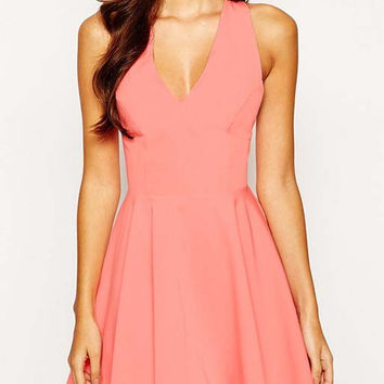 Pink Sleeveless V-Neckline Crisscross Strappy Back Skater Dress