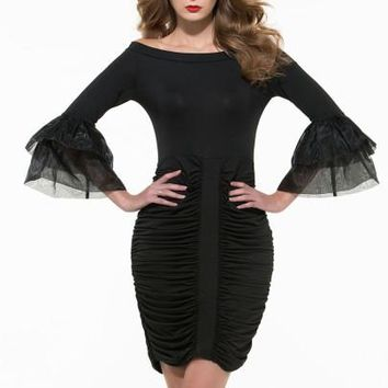 Slash Neck Ruffle Sleeve Women's Bodycon Dress (Plus Size Available)
