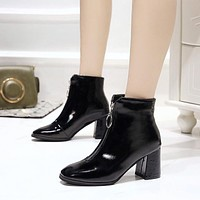 Patent Leather High Heels Square Toe Ankle Boots