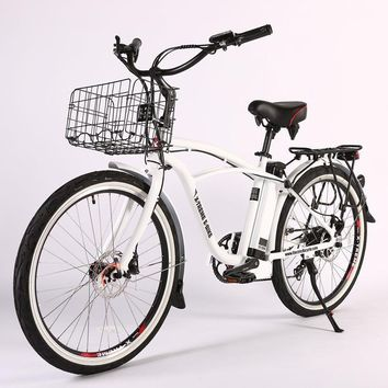 X-Treme Newport Elite Max 36 Volt Electric Beach Cruiser Bicycle Bike White