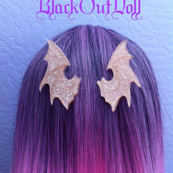 Gold Dragon Medieval Fairy Tale Wings Majestic Magical Hair Clips