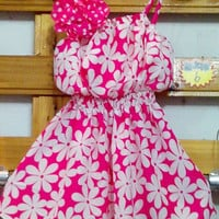 Little Girls Smart Summer Dress- Fuchsia Floral