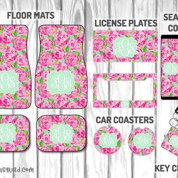 Lilly Pulitzer First Impressions Car Mat /Plate & Frame / Seat belt cover / Key Chain / Car Coaster / Car Accessory Gift  Set