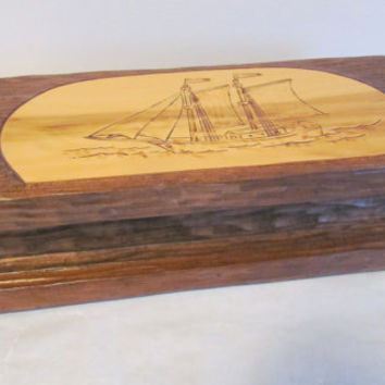 Large Wood Box Inmate Maine State Prison Art Hand Carved Sailing Ship Decor