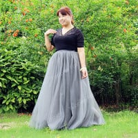 100% Real Photos! 7 Layers Maxi Long Women Skirts Ladies Tulle Skirt American Apparel Wedding Ball Gown Faldas Faldas Jupe Saia