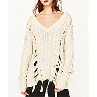Women Fashion Solid Color Hollow Bandage Twist Knitwear Loose Long Sleeve V-Neck Knit Sweater Tops